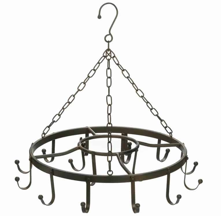 Circular hanging chandelier iron pot rack.