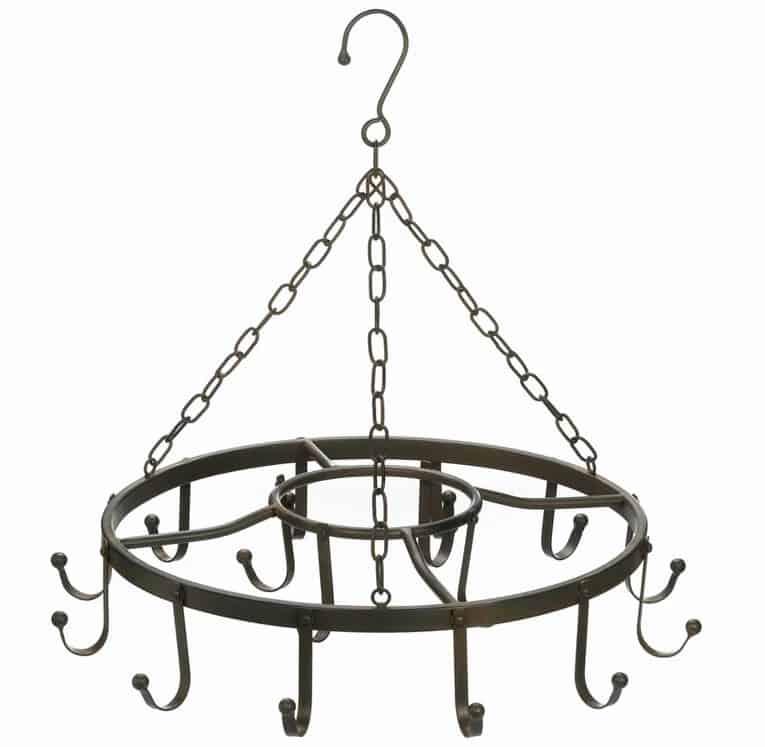 Circular hanging chandelier iron pot rack.