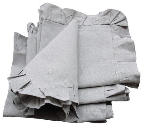 Ruffle trim solid taupe napkin.