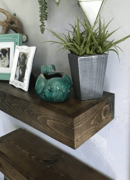 Rustic wood floating beam shelf