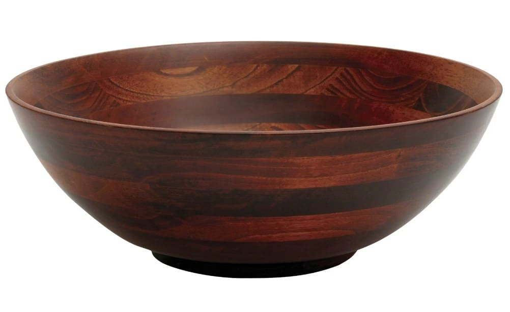 Bonroy Footed salad bowl with warm cherry stain on beech wood gives this large salad bowl a beautiful, rich finish.