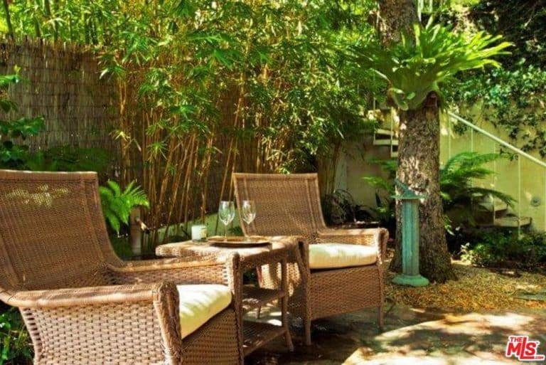 The home also has extra sitting lounge in the backyard surrounded by plants and trees.