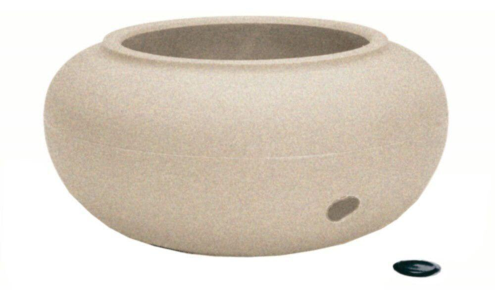 Garden hose storage pot with a sandy color.