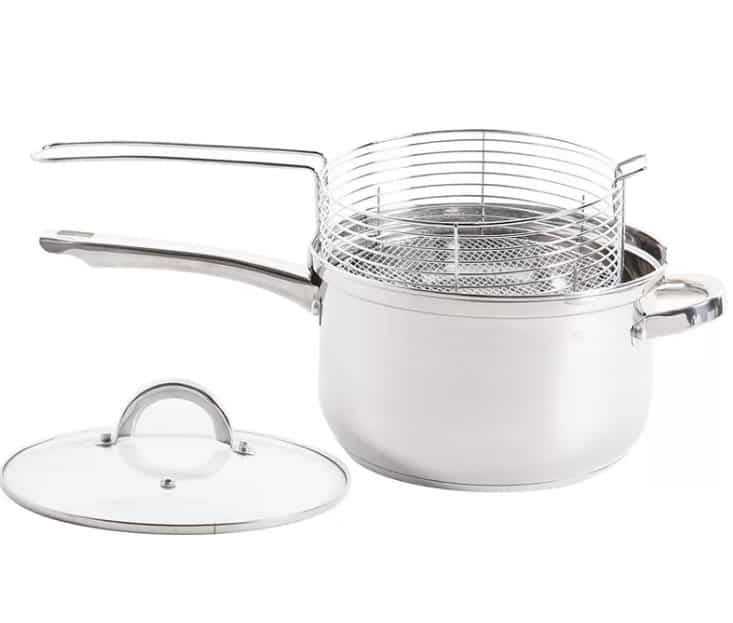 Oster Sangerfield deep fryer stainless steel sauce pan with lid and frying basket.