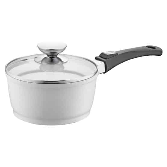 Vario Click Pearl induction sauce pan with cast-aluminum construction, an extra-long heat-safe handle, and a three-layer non-stick coating that makes cooking a pleasure.
