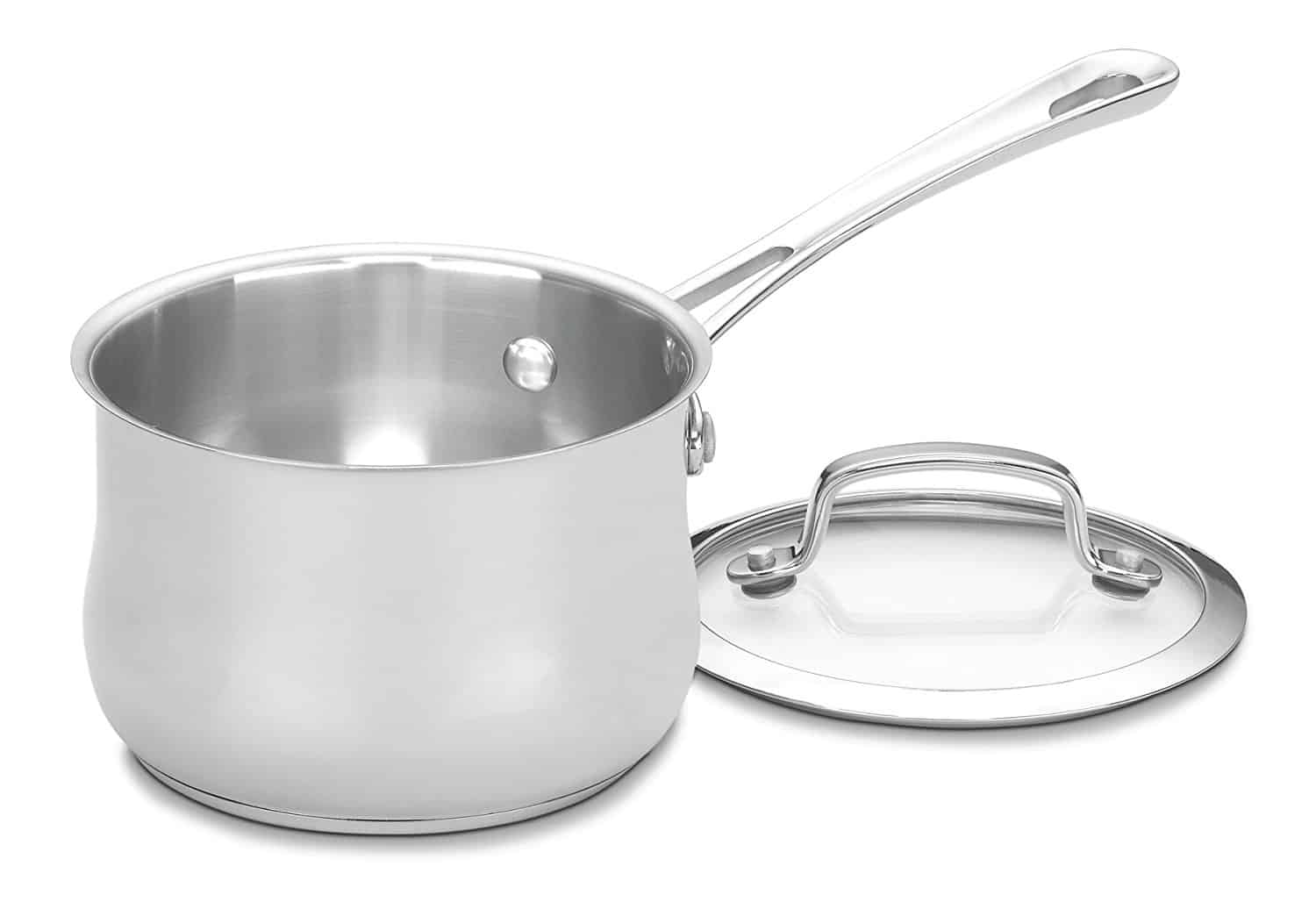 Cuisinart 419-14 contour stainless 1-quart sauce pan with lid.