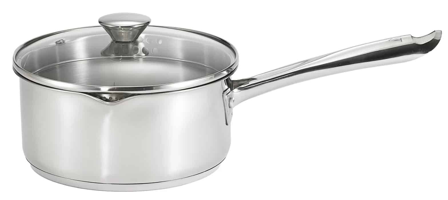 Cook and strain 3-qt. sauce pan with lid and pour sprout by WearEver.
