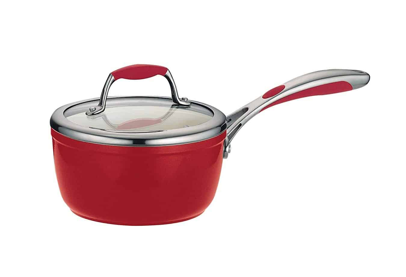 Sauce pan with features of ergonomic handle a stay-cool, soft-grip finish while the heat- and shatter-resistant tempered glass lid provides easy and safe cooking.