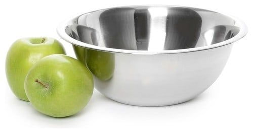 Stainless mixing bowl with a seamless finish.