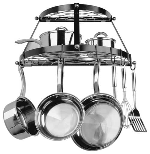Stainless steel cookware on black enamel double-shelf pot rack.