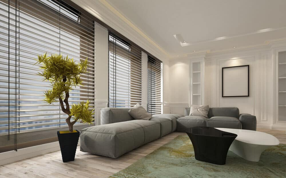 Modern type of living room with blinds in an off-white tone.