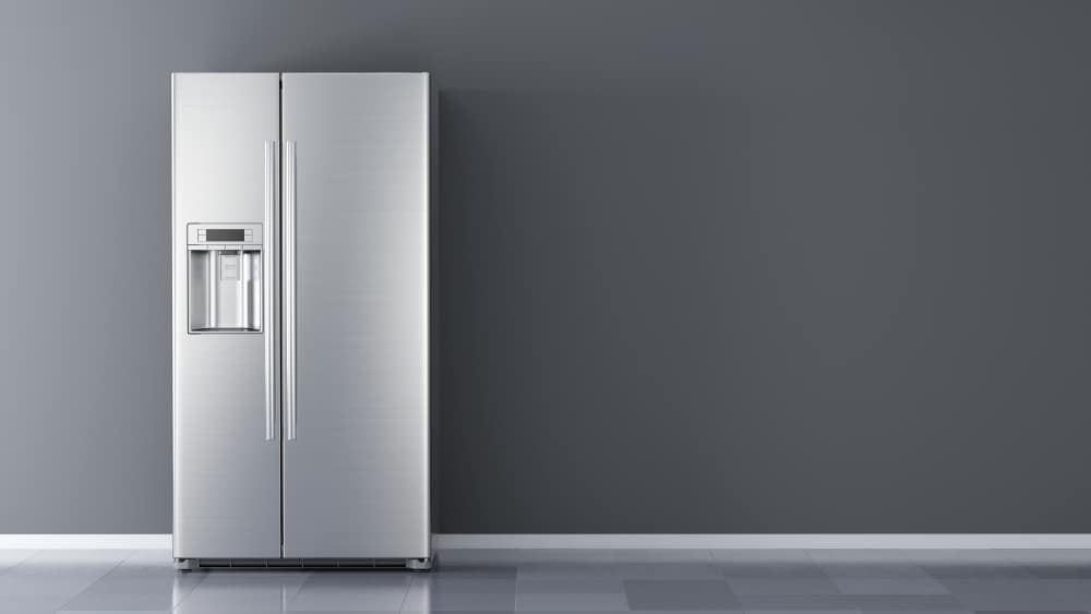 Modern side by side stainless steel refrigerator on a gray background.