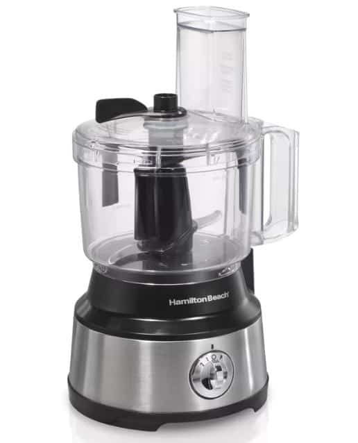 Electric food processor with a silver and black base.