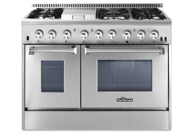 Cooktop with a silver, dual fuel range.