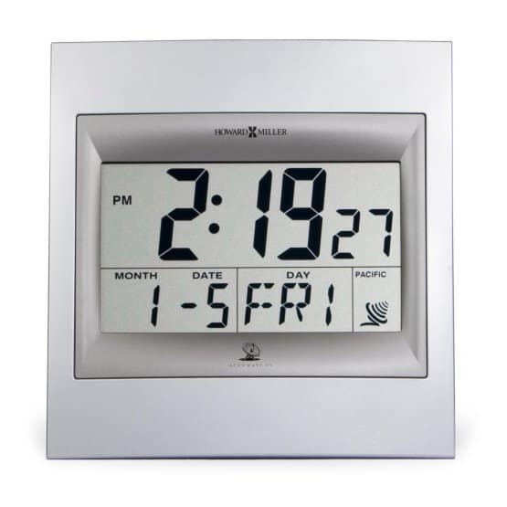 Plastic-framed atomic clock with a large display.