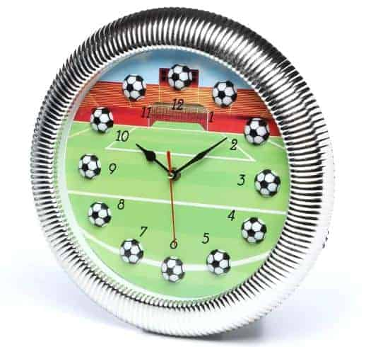 Silver-framed, soccer-themed clock.