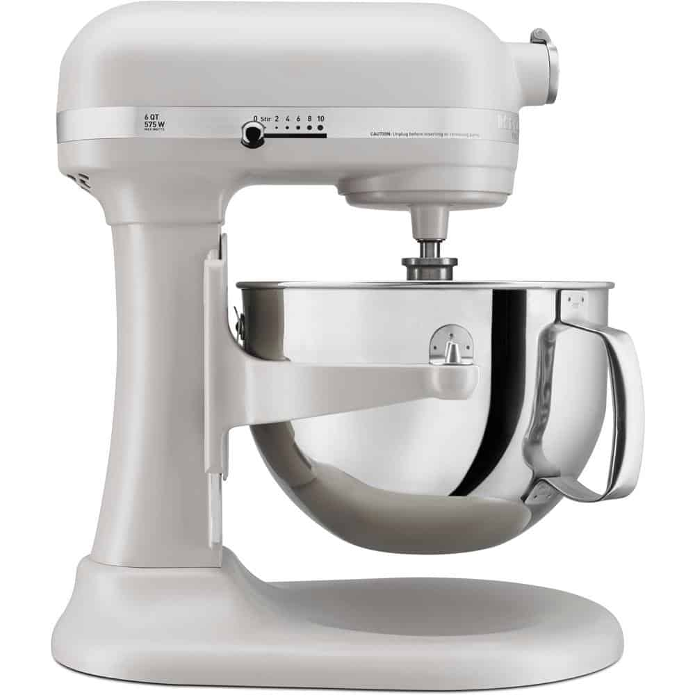 White mixer with pouring shield with a smooth, white finish.