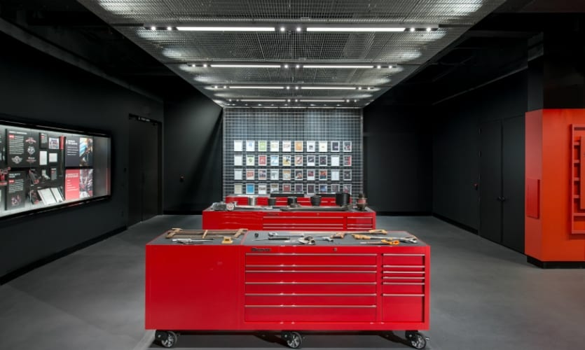 Snap-on tool boxes displayed at Snap-on Museum in Kenosha, Wisconsin.