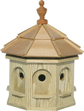Gazebo birdhouse made of solid wood with a natural tone.