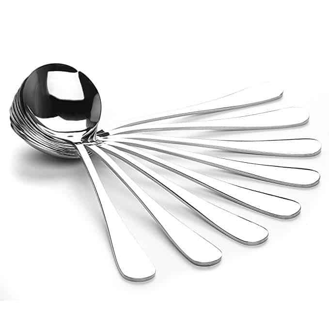 8-piece set of AmoVee stainless steel soup spoons with durable shiny mirror finish and the smooth design with AmoVee's commitment to sterling quality and extra heavy weight stainless steel flatware with thickness of 4 mm.