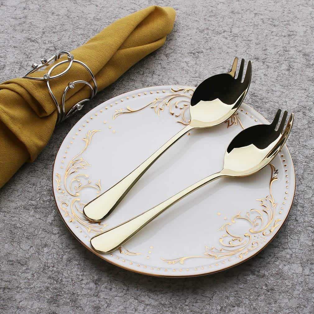 This 7.6 inches Sporks have better quality and more durable with heavy, solid, well made, attractive and the color gold made it stands out and unique.