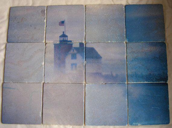 Square tile mural kitchen backsplash.