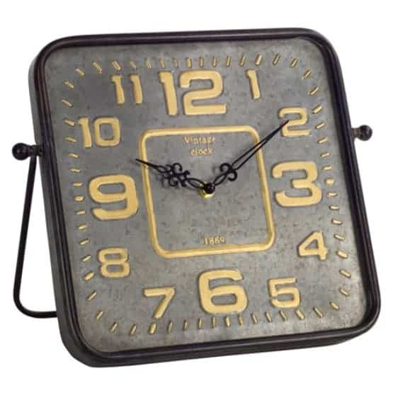 Square, vintage analog clock with round edges.