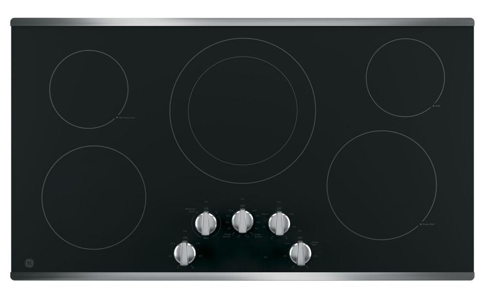 Electric cooktop with five burners.