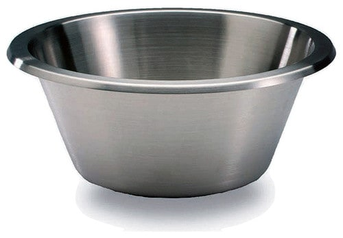 Stainless mixing bowl with a flat bottom.