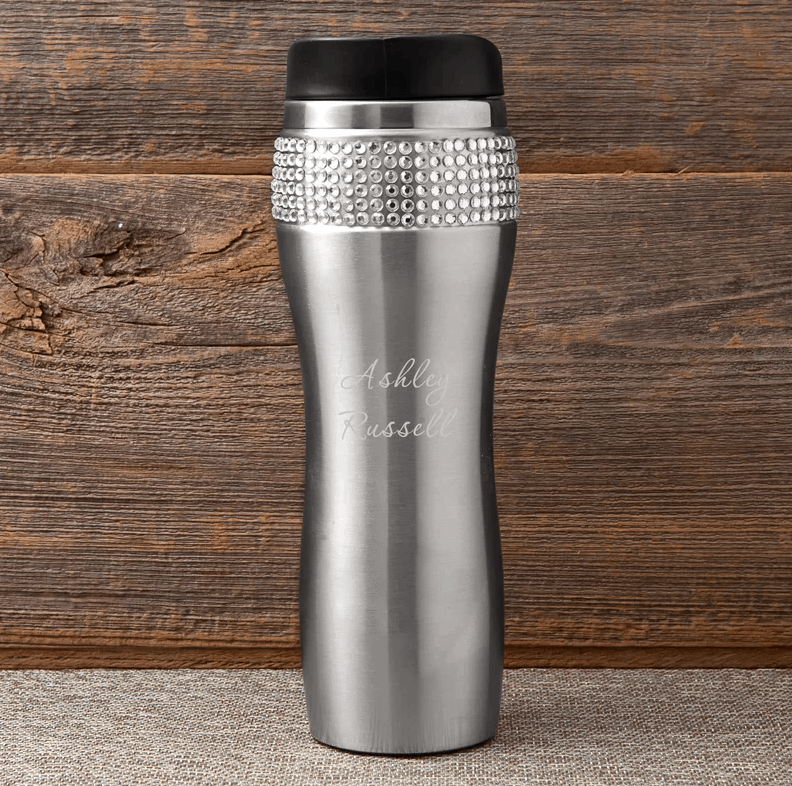 Personalized bling stainless steel travel coffee.