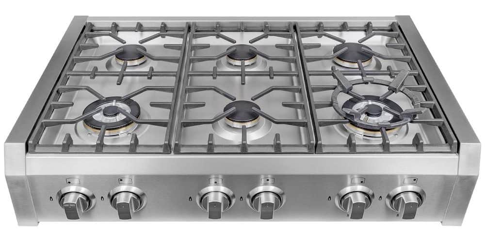 Stainless steel gas cooktop.