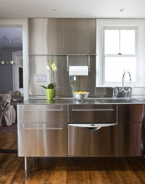 Stainless steel metallic kitchen backsplash.