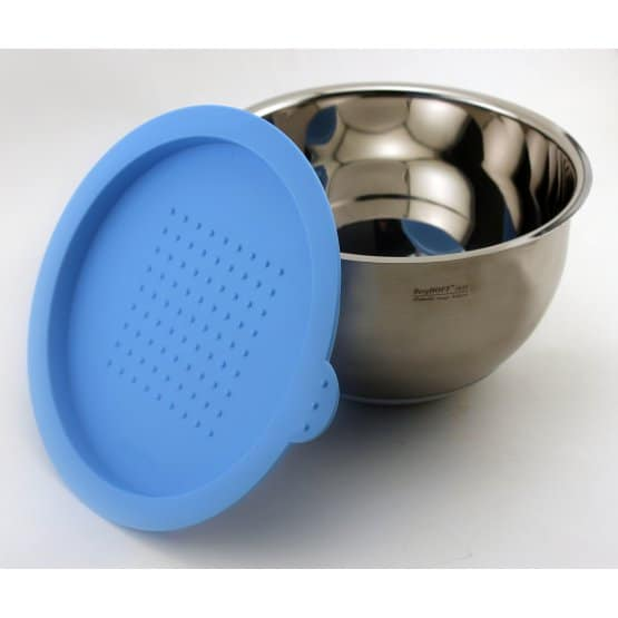 Stainless steel mixing bowl with a blue plastic lid.