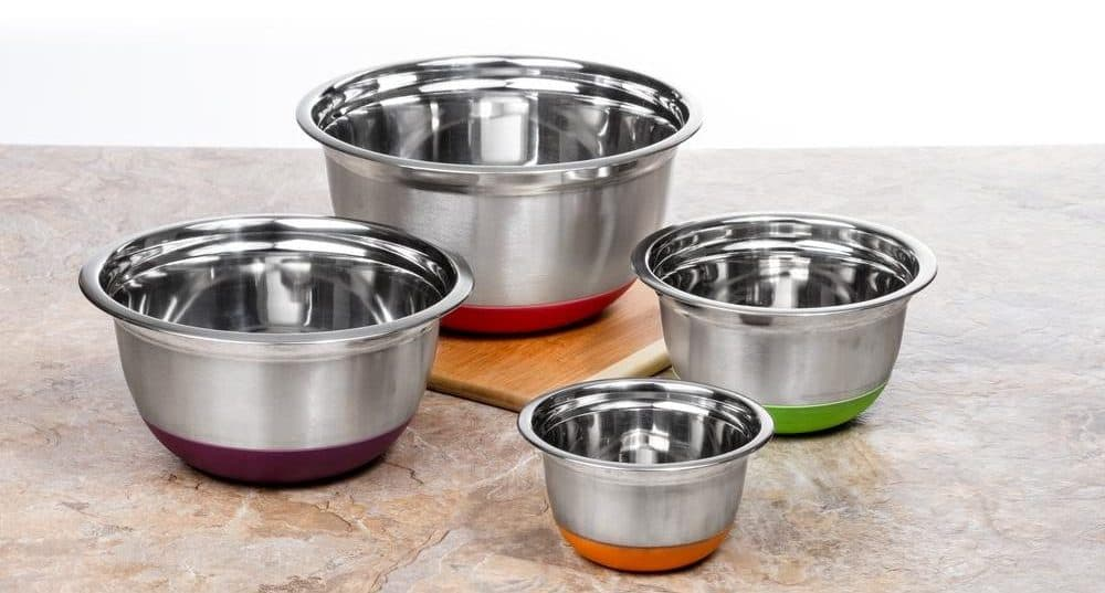 Stainless steel mixing bowls with colorful rubberized bottoms.