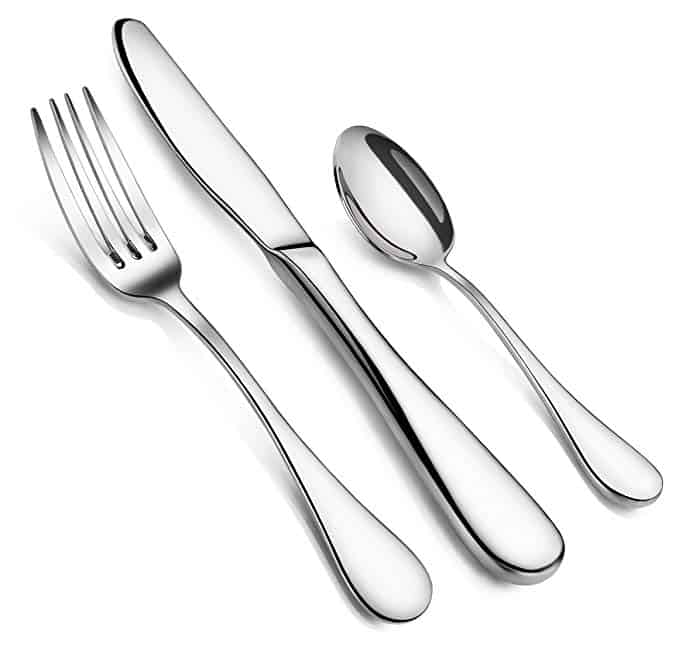 These stainless steel silveware set is made from 18/10 stainless steel with extra thick ergonomics handle and its rain pattern is simple and elegant with reflective mirror finish.