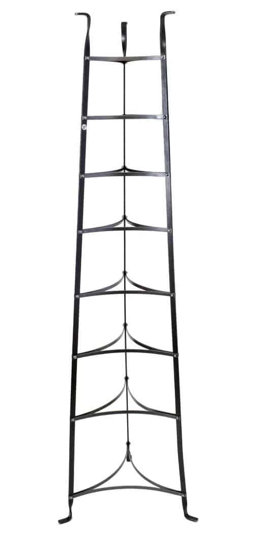 8-tier freestanding pot rack in black color.