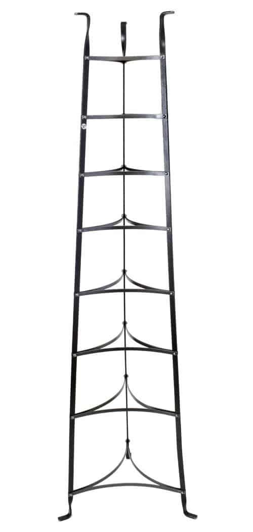 8-tier freestanding pot rack in black color.
