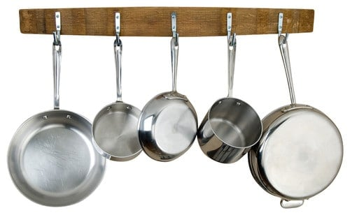 Wall-mounted pot rack made from wine barrel stave with 5 stainless steel stationary hooks.