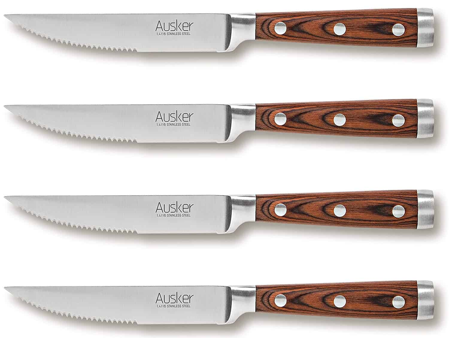 Stainless steel Ausker steak knife set with highly resistant and durable Pakkawood handle, good for pizza or steak.