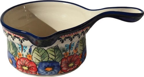Polish Pottery sauce pan with floral pattern design.