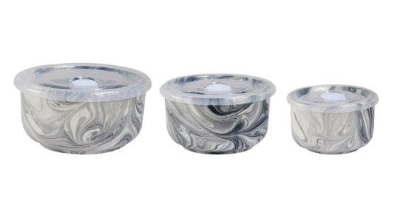 Keep your leftovers stored inside the American Atelier marble storage bowls that come in various sizes, each outfitted with a lid to seal in the flavors.