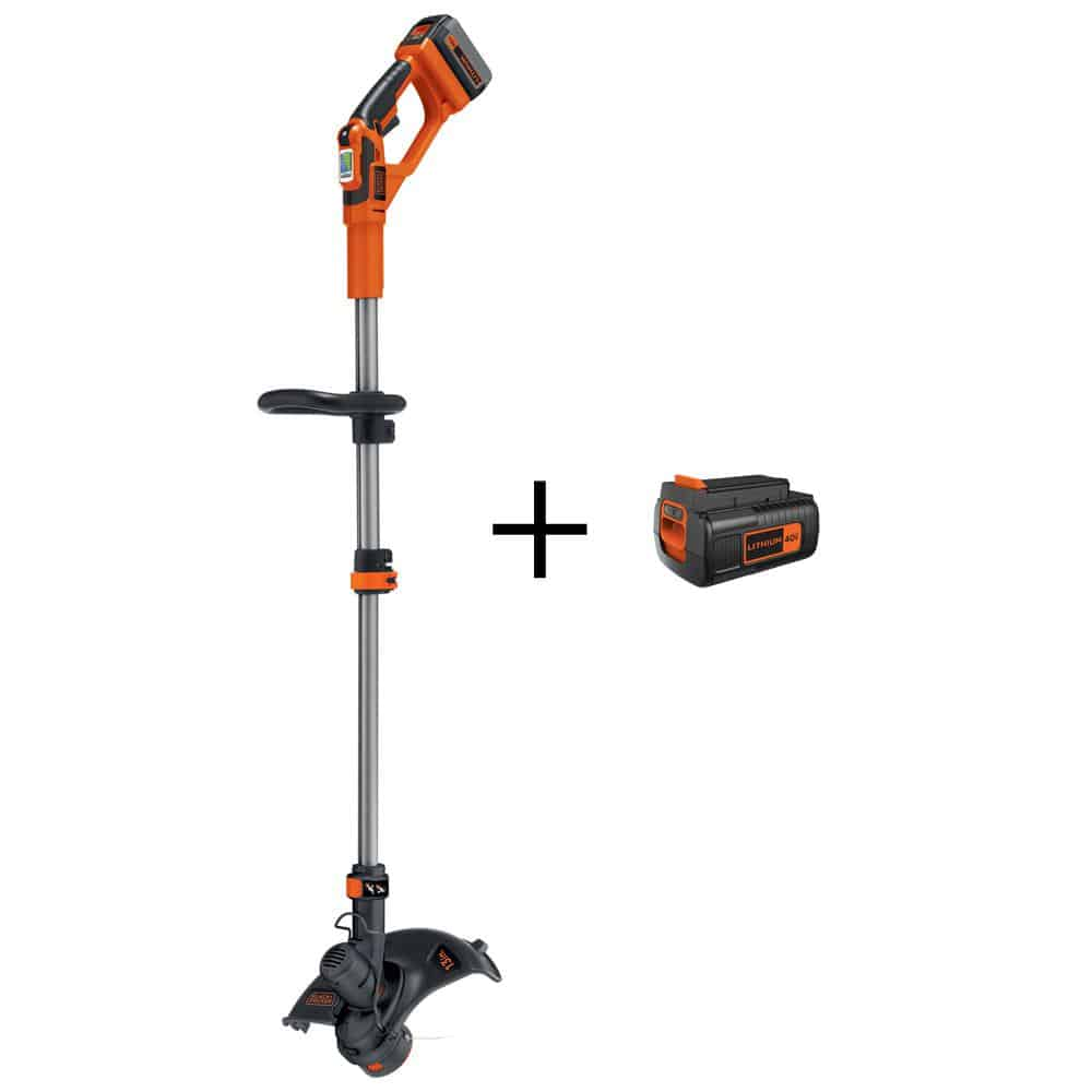 String grass trimmer with an additional battery,