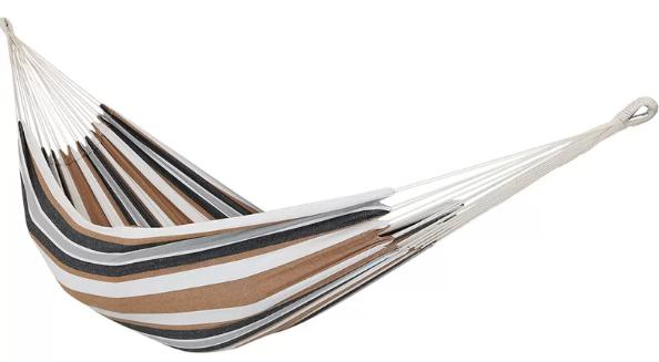 Cotton tree hammock with black, white and brown stripes.