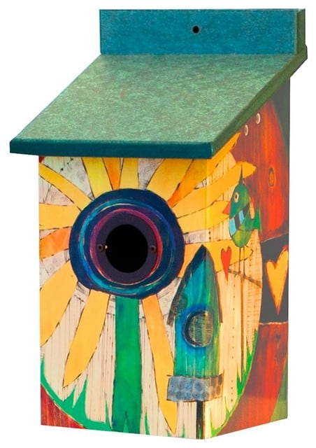 A birdhouse painted with a sunflower and a house.