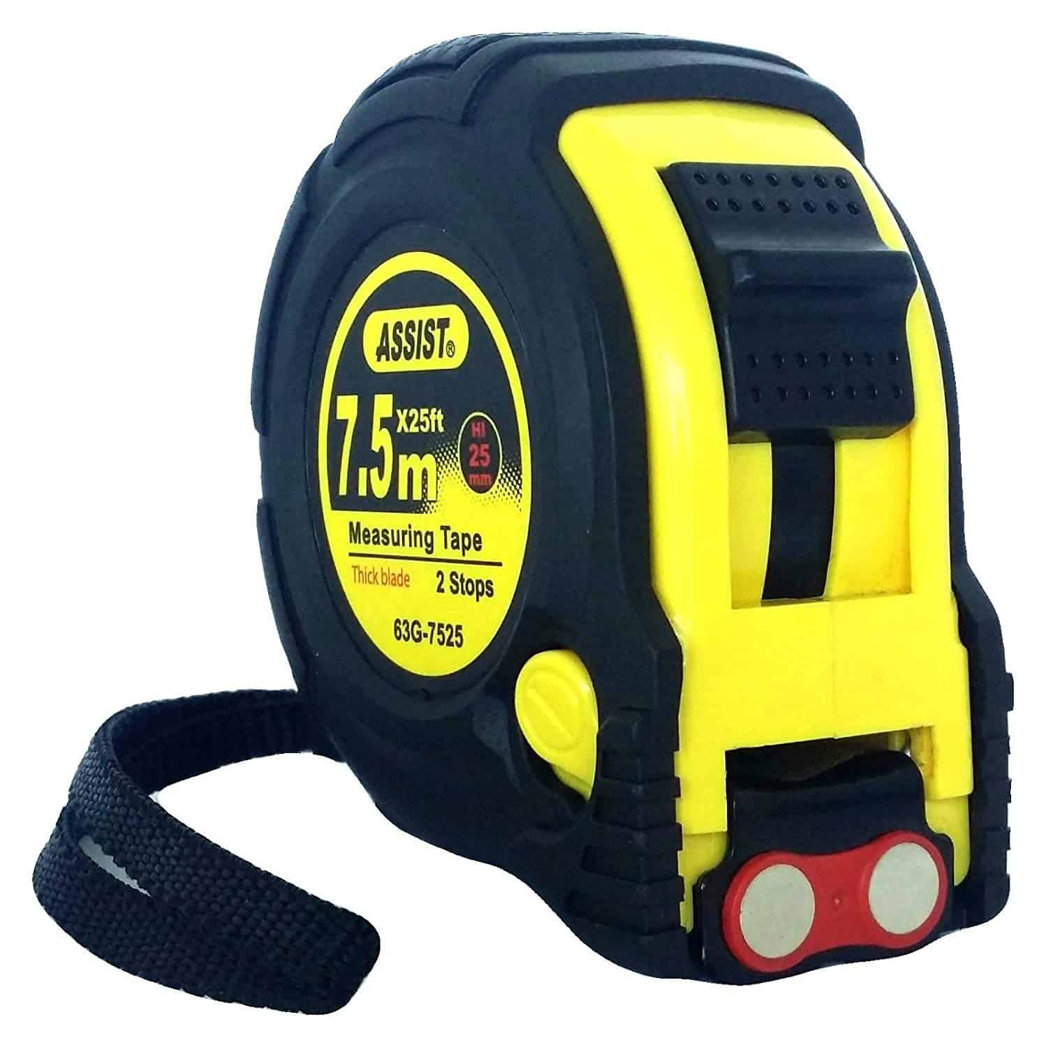 ASSIST-tape measures 25 ft by 1 inch with metric markings included, magnetic feature and rubber case