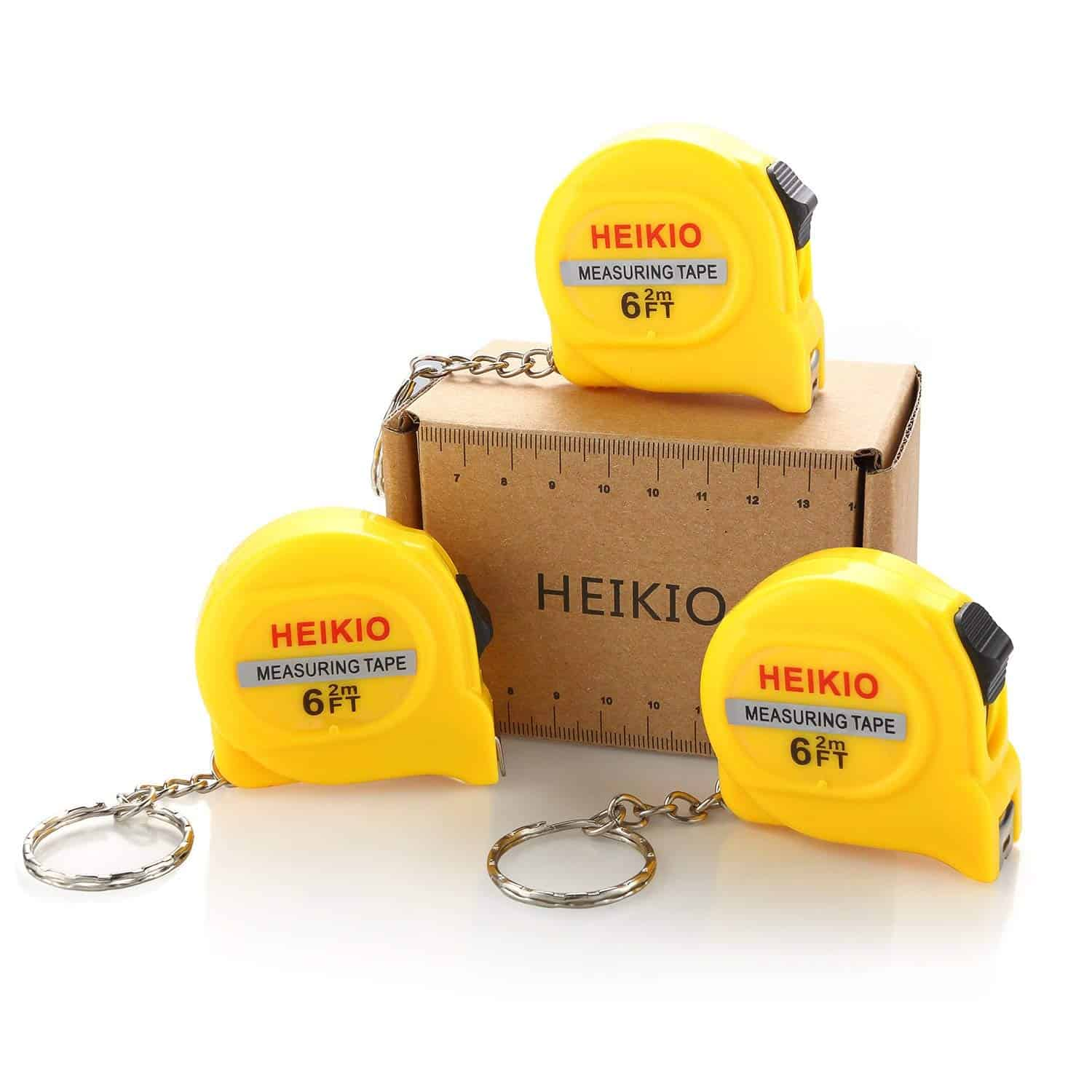EIKIO 3-pack measuring tape with belt clip and key chain and locking.
