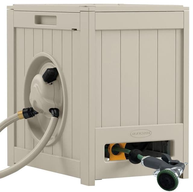 Automatic garden hose with storage in Taupe.