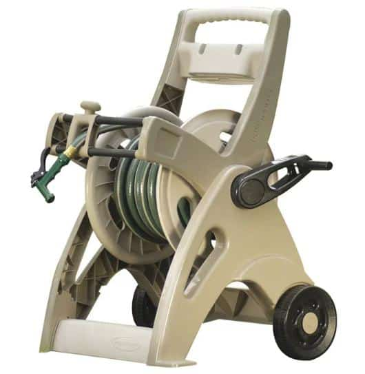 A plastic reel cart in Taupe with garden hose.