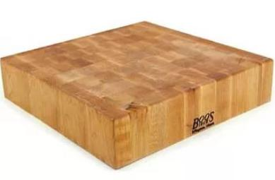 Extra thick, square butcher block.