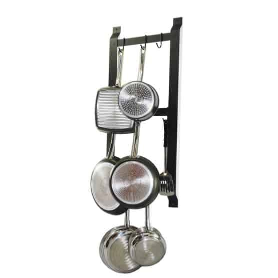 Black, wall-mounted, vertical tiered pot rack.